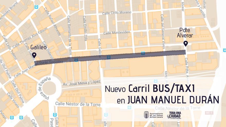 Plano del nuevo carril BUS/taxi en Juan Manuel Durán.