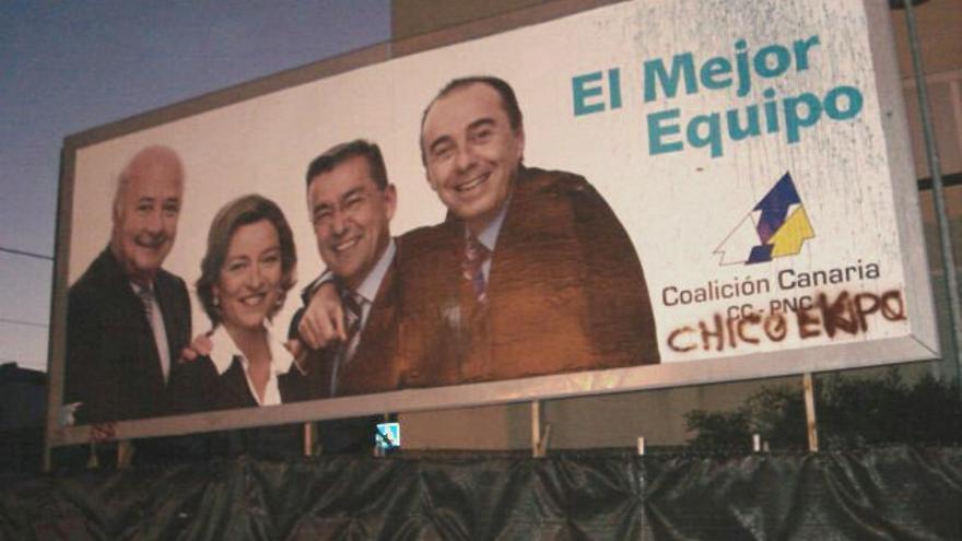 Una valla publicitaria en los tiempos en los que todos hacían piña con Zerolo. Negaron antes a Paulino Rivero que el exalcalde corrupto.