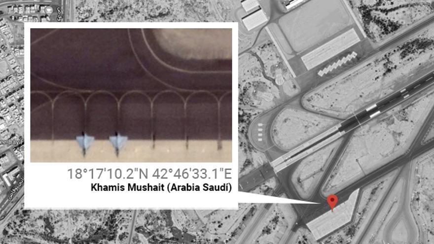 Dos cazas saudíes geolocalizados en la base del Rey Khalid, situada cerca de la frontera con Yemen, el pasado 10 de julio de 2019.