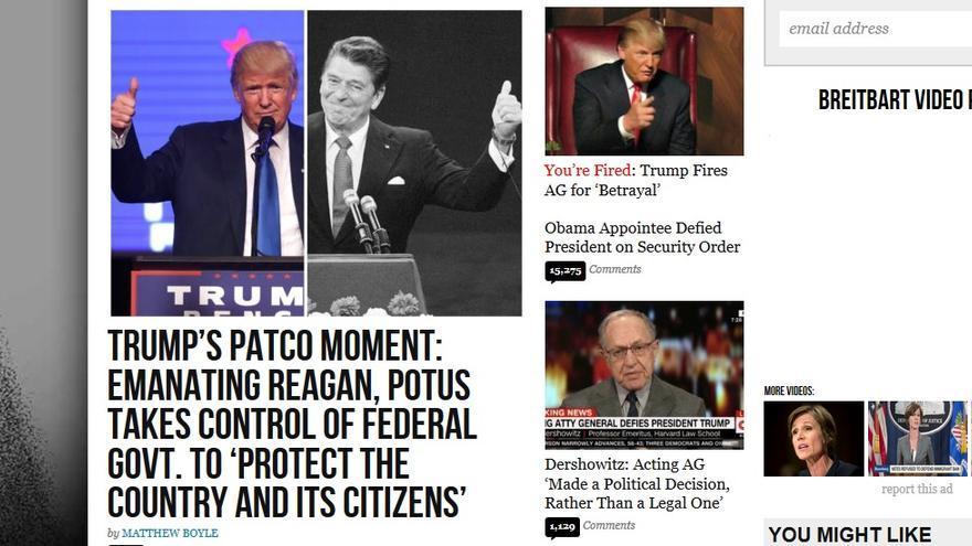 Captura de pantalla del sitio de noticias conservador Breitbart News