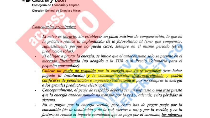 Extracto de las alegaciones de Castilla y León al borrador de decreto de autoconsumo de julio de 2013.