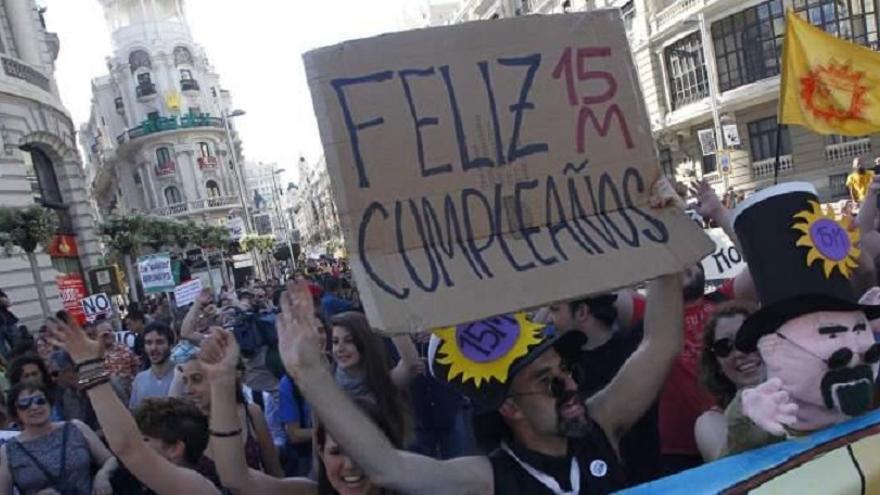 Manifestación con motivo de la celebración del segundo aniversario del 15M.