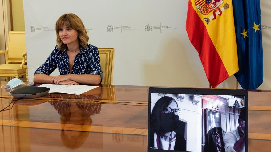 La ministra de Educación y FP, Pilar Alegría, interviene por conferencia en un curso de la UIMP 'Respuestas para el futuro de la educación'