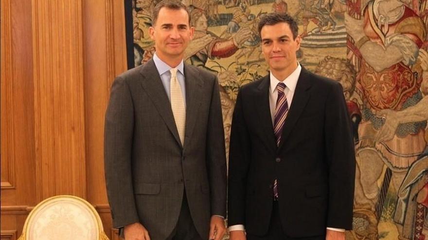 El rey Felipe VI y Pedro Sánchez en Zarzuela