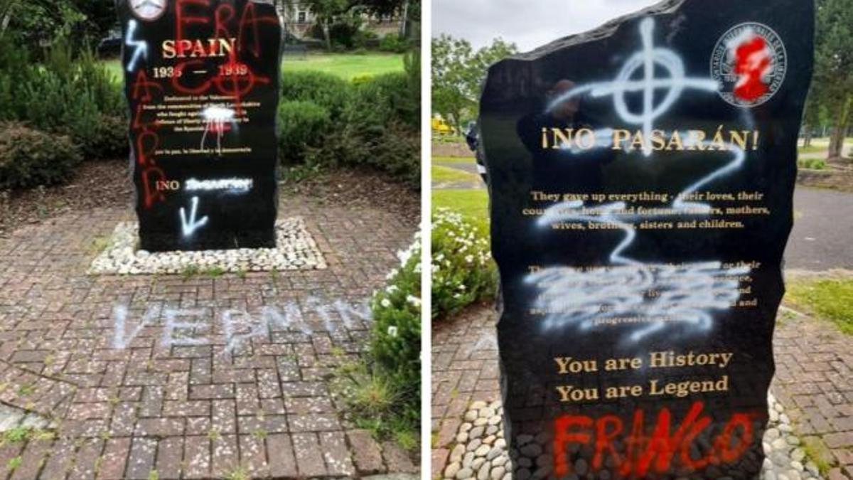 El monumento de Escocia a las Brigadas Internacionales vandalizado con proclamas franquistas