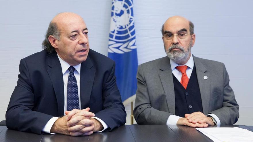 EL rector de la Carlos III, Juan Romo (ida.) en un acto con la FAO / Univ. Carlos III
