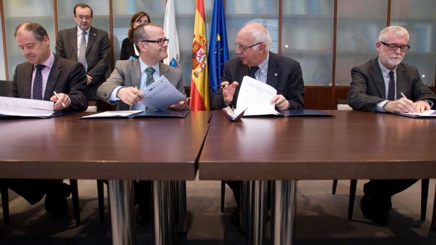 Reunión de los tres rectores gallegos con el conselleiro de Educación