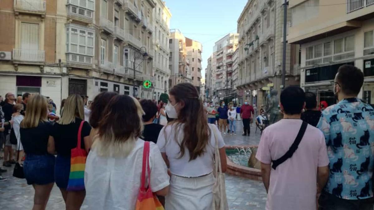 Imagen de la protesta de este sábado en Cartagena