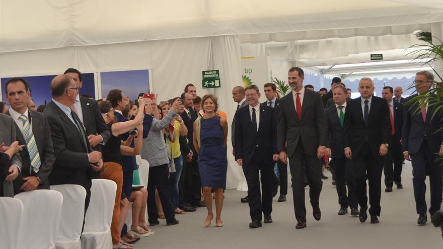 El rey Felipe VI en el 50 aniversario de la refinería de BP en Castellón.
