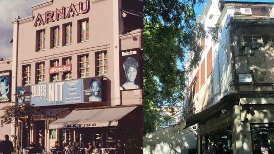 El teatre, abans del tancament definitiu, l'any 1994, i el teatre, oblidat, en una imatge recent