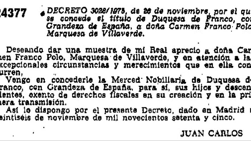 Decreto de 26 de noviembre de 1975 en el que se concede a Carmen Franco el título de Duquesa