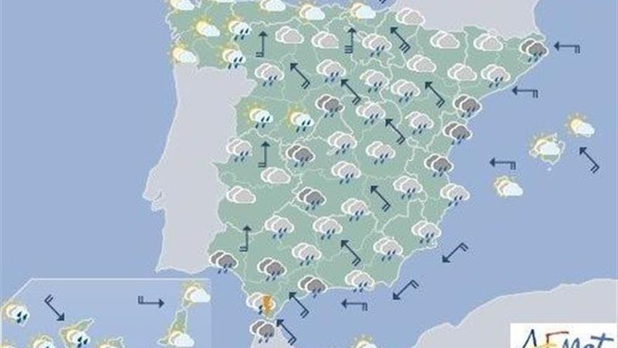 Hoy vuelven las lluvias generalizadas, que serán fuertes en Andalucía