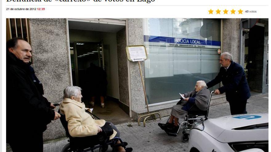 Imágenes del acarreo de Iravedra (izquierda), publicadas por La Voz de Galicia