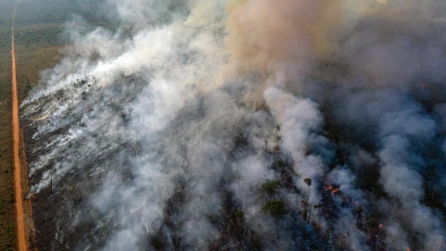 Vista aérea de incendios en la selva amazónica