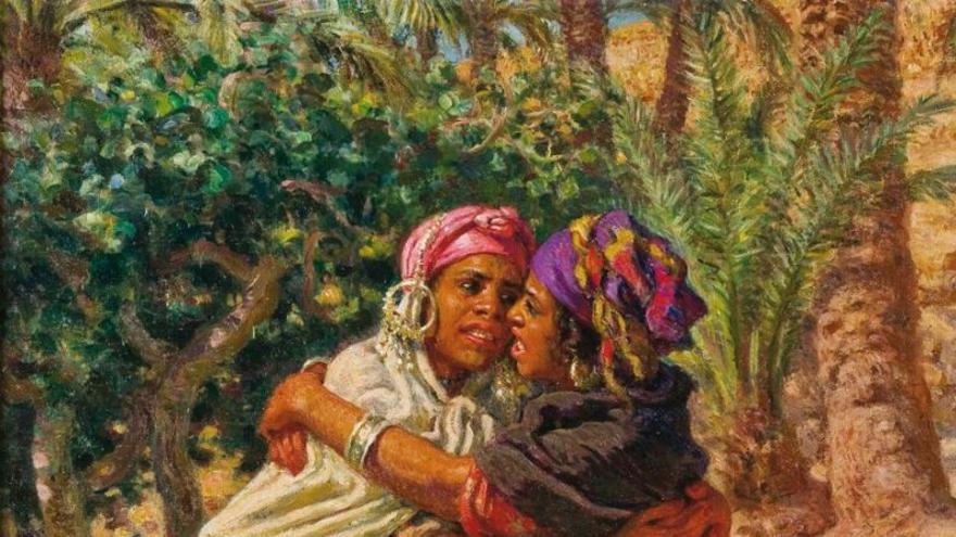 Cuadro de mujeres luchando en el norte de África (Imagen cedida por la web juegodelpalocanario.com)