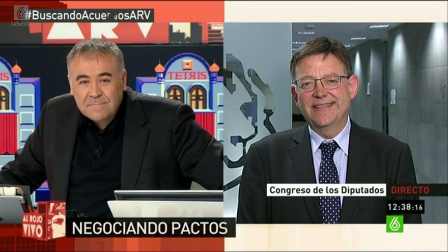 Ximo Puig en el programa de La Sexta 'Al Rojo Vivo' con Antonio García Ferreras