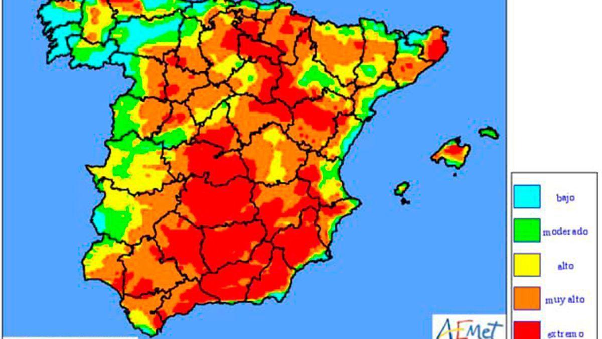 Mapa de riesgos de incendios de la Aemet este lunes 5 de julio.