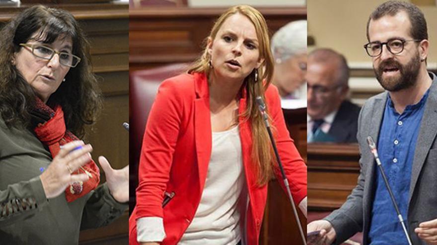 Concepción Monzón, Noemí Santana y Juan Márquez (diputados de Podemos)