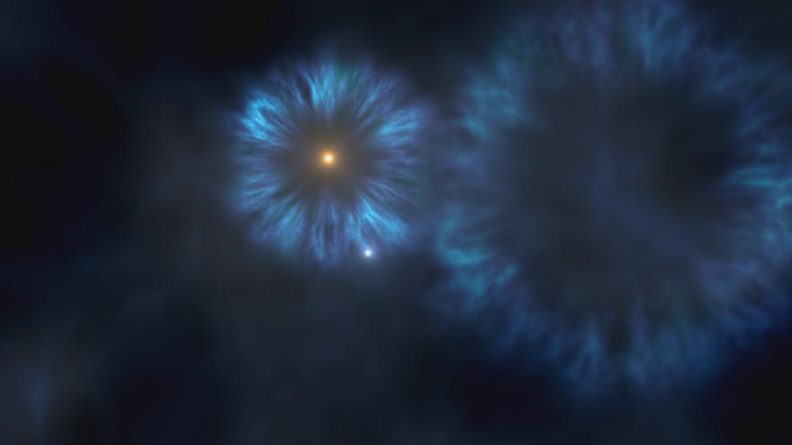 Imagen artística de la explosión de las primeras estrellas masivas que se formaron en la Vía Láctea. La estrella J0815+4729 se formó a partir del material eyectado por estas primeras supernovas. Crédito: Gabriel Pérez, SMM (IAC).