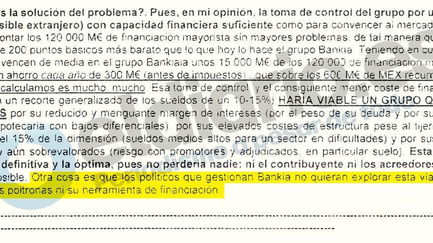 Extracto de uno de los correos remitidos por el Banco de España a la Audiencia Nacional.