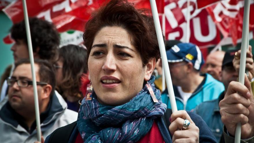 Sonsoles Arnau durante una de las manifestaciones. Foto: Jose Antonio Bonilla