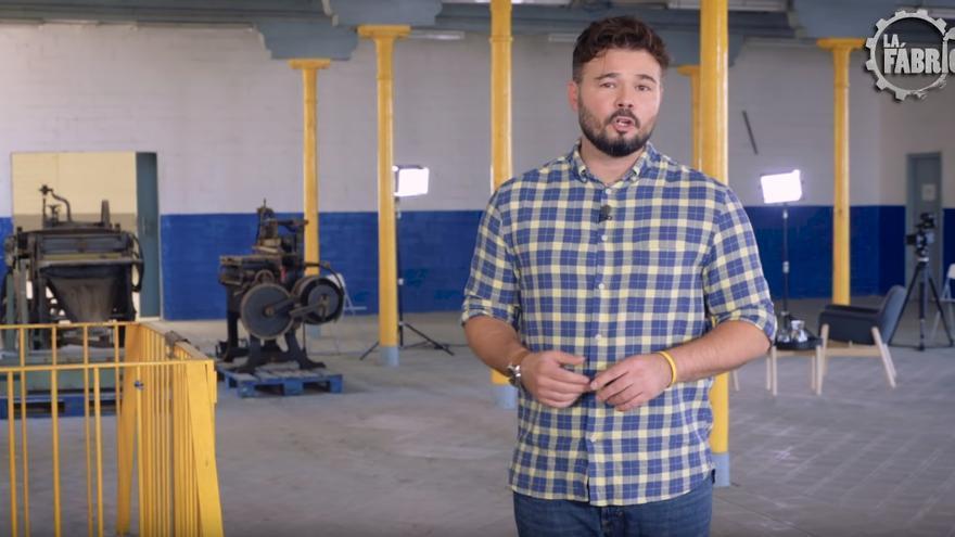 Gabriel Rufián, en una captura de Youtube de su programa