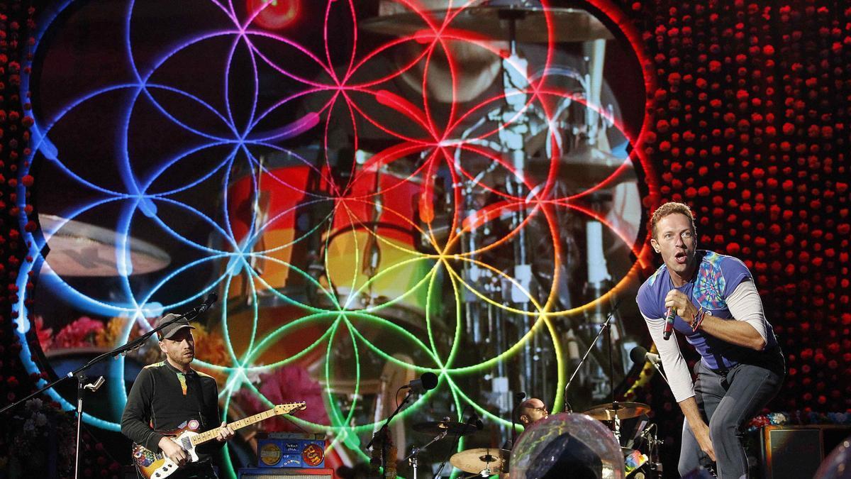 El grupo británico Coldplay durante un concierto. EFE/Marta Pérez