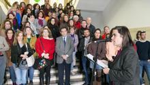 Momento en que se leyó el manifiesto de las universidades españolas este jueves, en el edificio central de la ULL