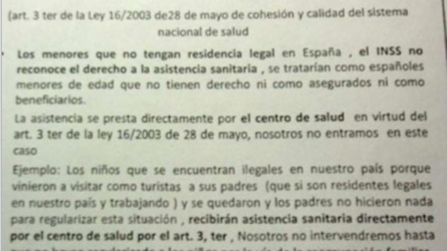 Documento repartido por el INSS sobre la atención sanitaria a niños inmigrantes / Yo Sí Sanidad Universal