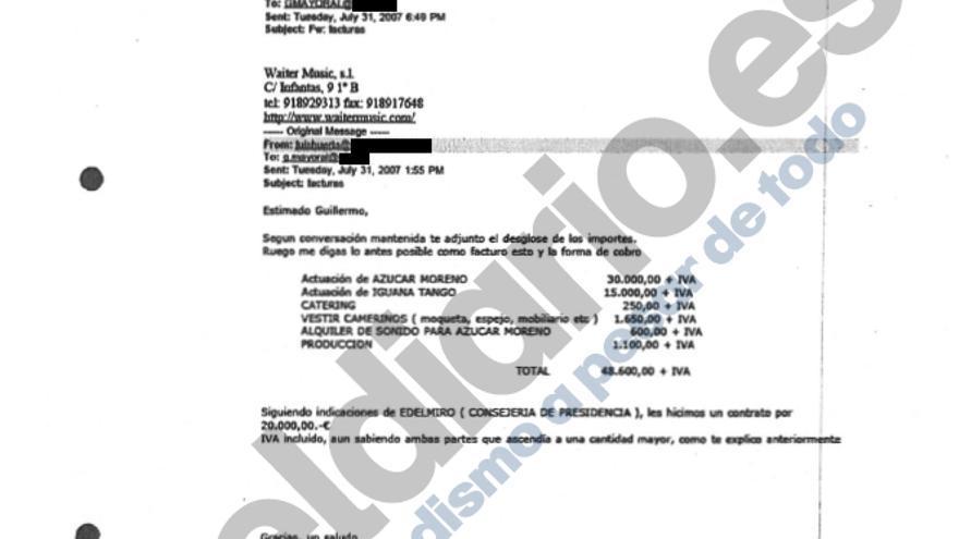 Captura del email enviado a Guillermo Mayoral.