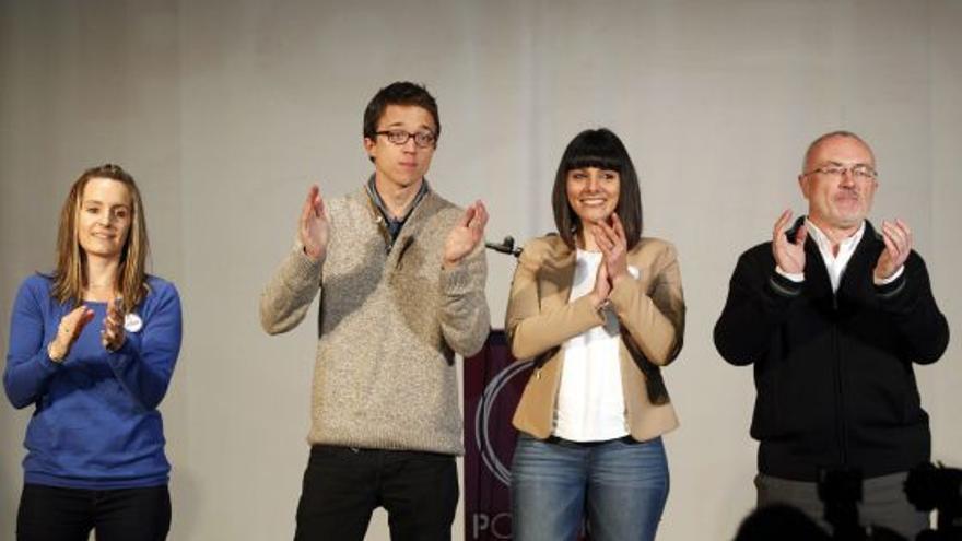 Ballester, Iñigo Errejón, Mínguez y Montiel en un acto de Claro que Podemos en Valencia.