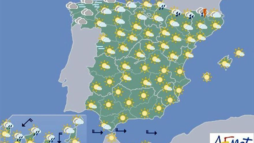 Chubascos con tormentas desde el oeste peninsular a Pirineos
