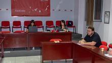 El gripo Socialista de la capital en la sede del PSOE.