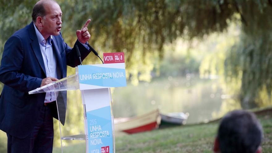 Leiceaga, durante un acto de campaña