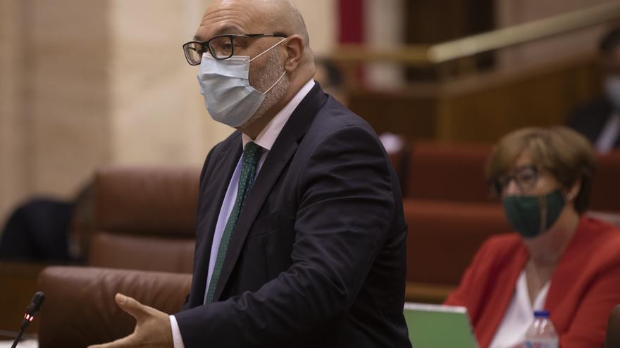El portavoz del grupo parlamentario Vox en Andalucía, Alejandro Hernández (i), en una foto de archivo.