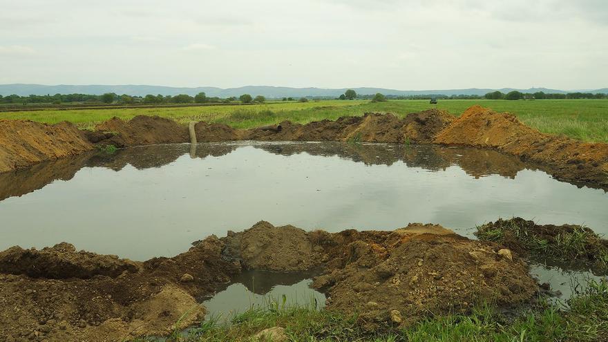 Depósito de purines en un campo de A Limia (Ourense)