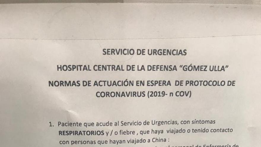 El anuncio que vieron en Urgencias los trabajadores del Gómez Ulla.