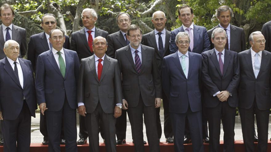 Rajoy y los grandes empresarios españoles del Círculo Empresarial por la Competitividad, la pasada semana