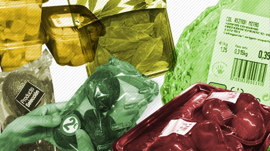 Frutas y verduras plastificadas
