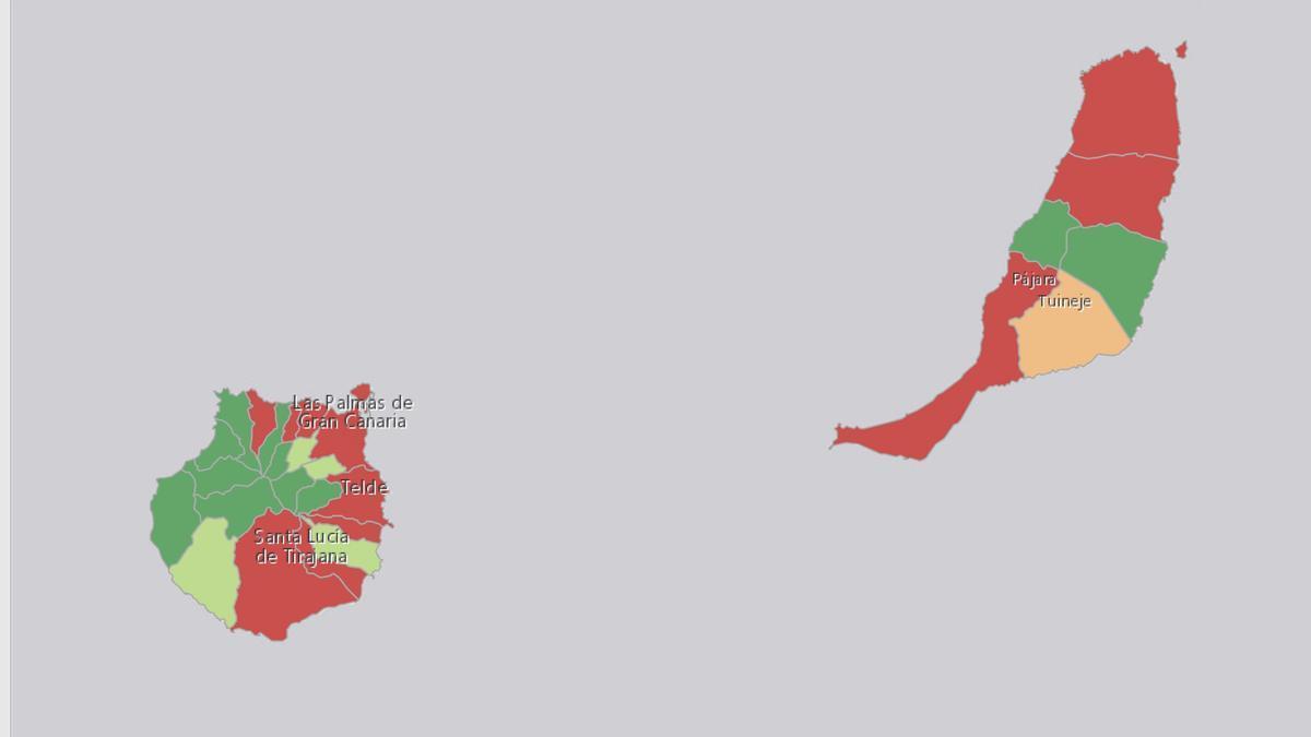 Mapa de la IA a 7 días en Gran Canaria y Fuerteventura