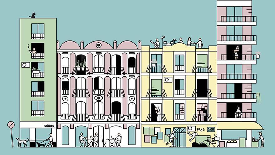 Espai Rambleta acoge un mapa de la ciudad realizado por ilustradores  que aportan su singular caleidoscopio urbano