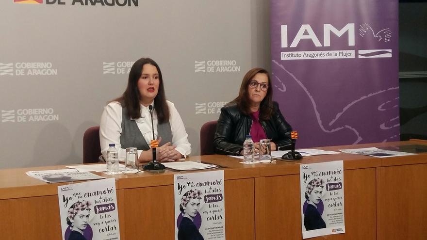 La directora del Instituto Aragonés de la Mujer, Natalia Salvo (izqda), y la presidenta de la FAMPC, Carmen Sánchez