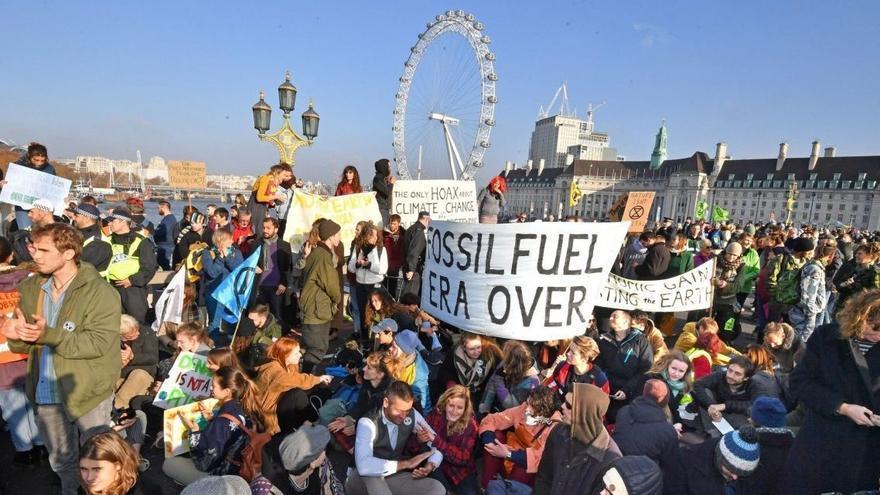 Protestas contra la inacción ante el cambio climático en Londres.