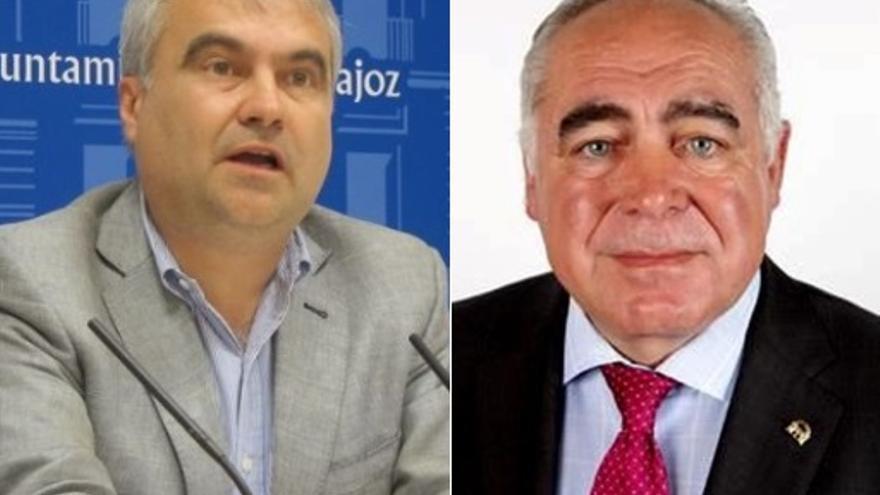 El alcalde pacense, Francisco Javier Fragoso (en la imagen, a la izquierda); sustituye al exalcalde de Mérida Pedro Acedo al frente de la lista al Senado por la provincia de Badajoz
