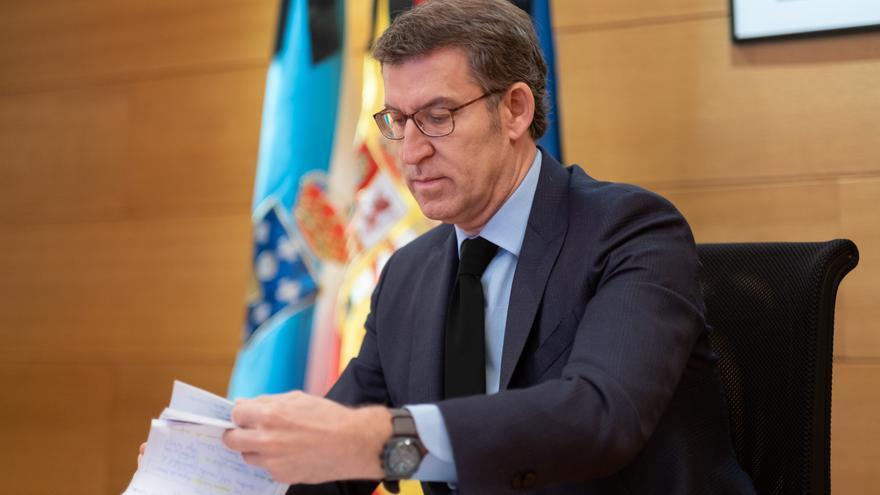 Alberto Núñez Feijóo, durante la videoconferencia con Pedro Sánchez.