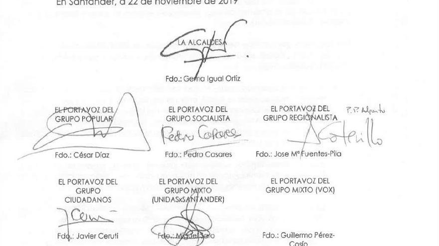 Ausencia de la firma de Vox en la moción conjunta en Santander contra la violencia de género.