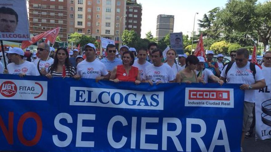Marcha de trabajadores de Elcogas en Madrid junto a Mayte Fernández. Foto: Isabel Rodríguez | Twitter