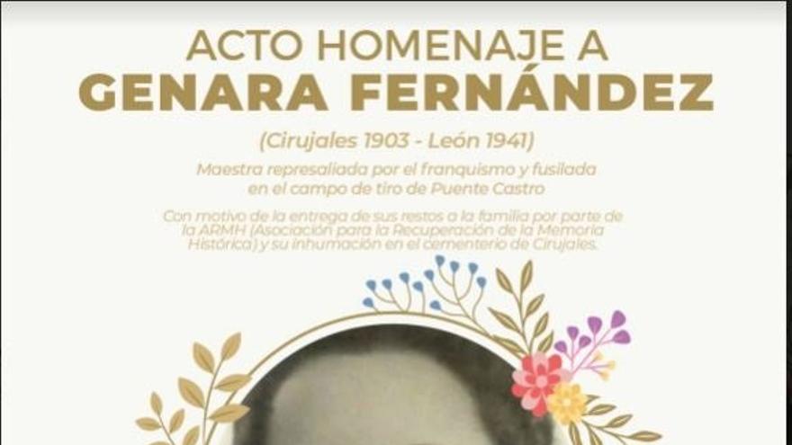 Cartel del acto de entrega de los restos de Genara Fernández.