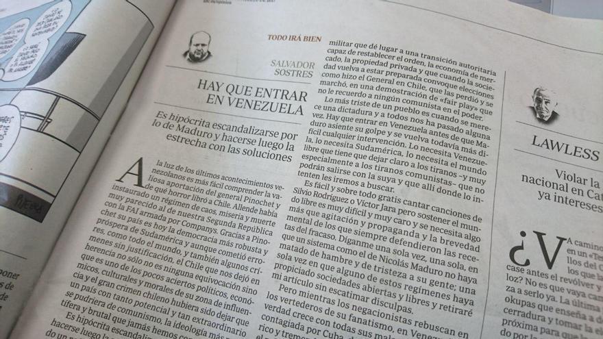 Columna de Salvador Sostres en ABC donde pide un golpe de Estado en Venezuela