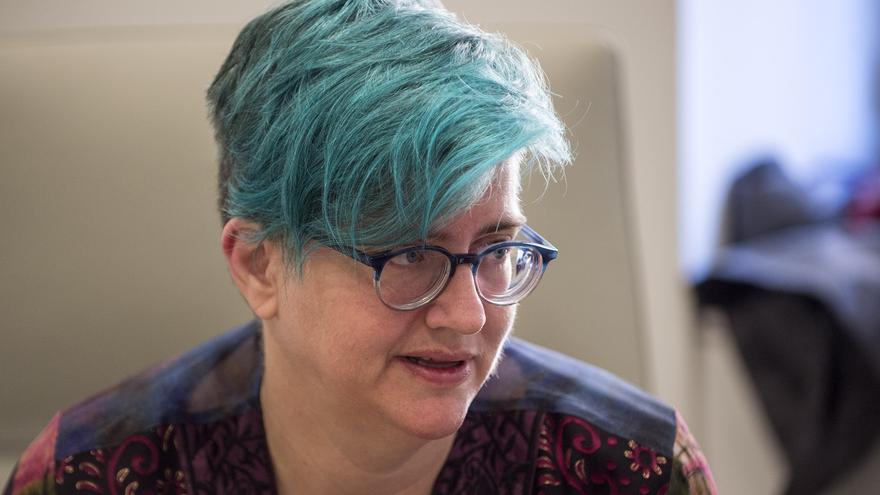 Cathy O'Neal, en un momento de la entrevista con eldiario.es